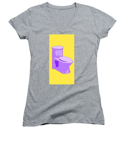 Toilette In Purple Women's V-Neck (Athletic Fit)