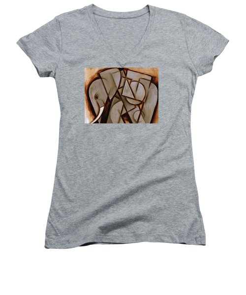 Tommervik Abstract Cubism Elephant Art Print Women's V-Neck (Athletic Fit)