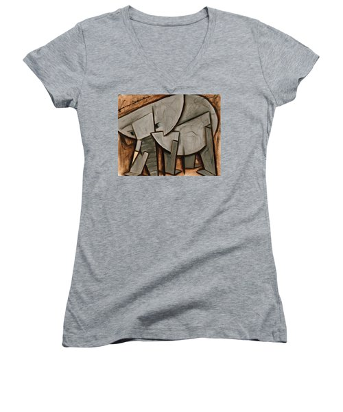 Abstract Cubism Elephant Art Print Women's V-Neck (Athletic Fit)