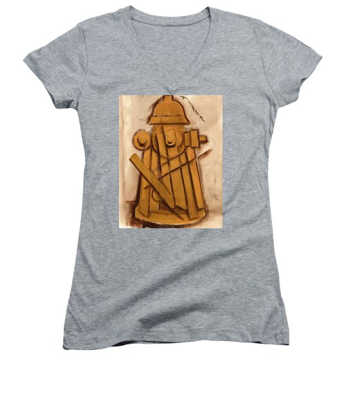Abstract Fire Hydrant Art Print Women's V-Neck (Athletic Fit)