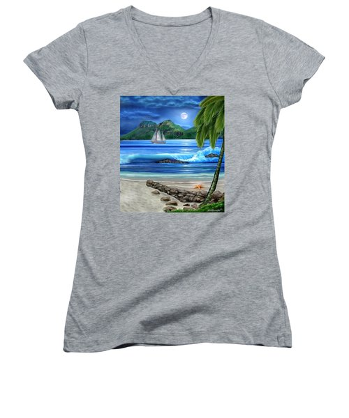 Tropical Paradise Women's V-Neck T-Shirt (Junior Cut) by Glenn Holbrook