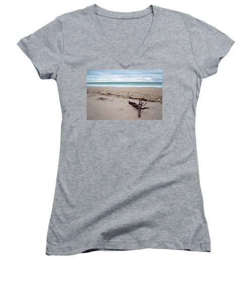 Topsail Island Driftwood Women's V-Neck T-Shirt (Junior Cut)