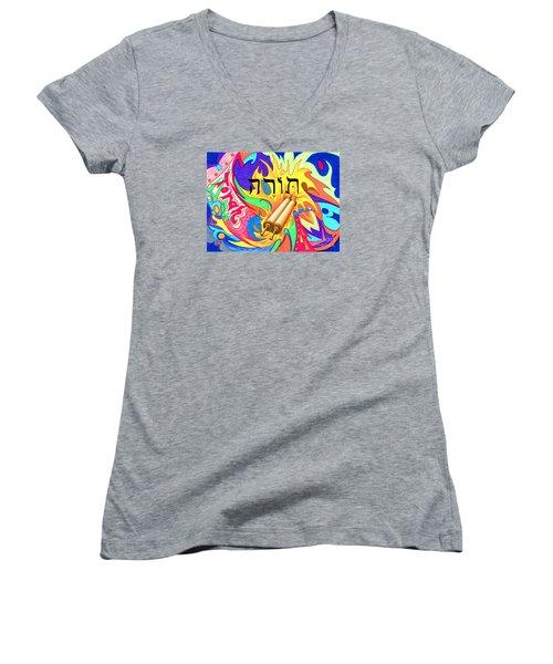 Torah Women's V-Neck T-Shirt (Junior Cut) by Nancy Cupp
