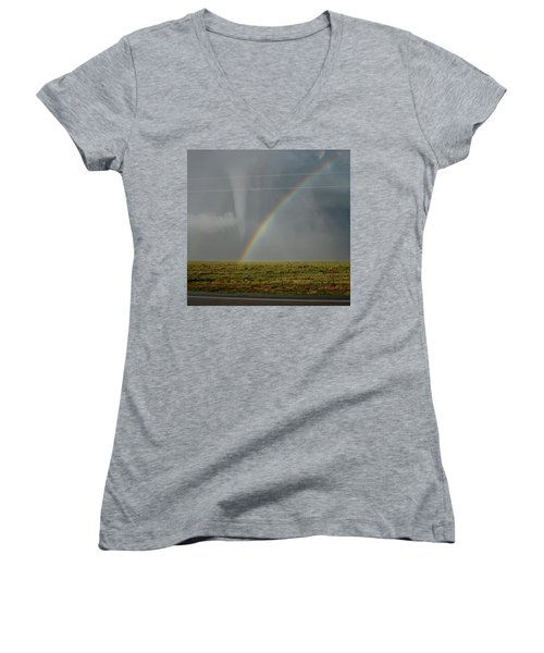 Tornado And The Rainbow Women's V-Neck T-Shirt
