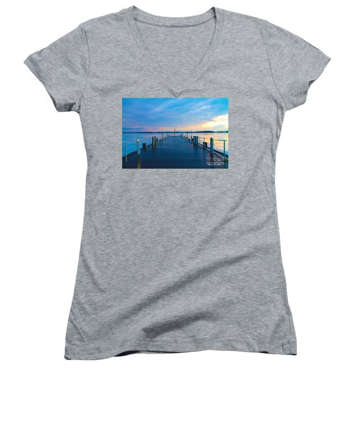 Women's V-Neck T-Shirt (Junior Cut) featuring the photograph Toronto Pier During A Winter Sunset by Nina Silver