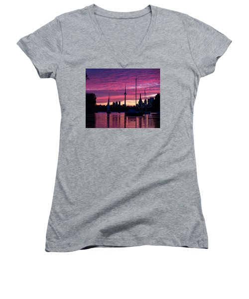 Toronto Skyline - The Boats Are Coming In Women's V-Neck