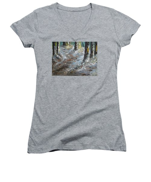 Women's V-Neck T-Shirt (Junior Cut) featuring the painting Touch Of Christmas by Teresa White