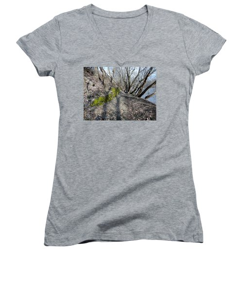 Women's V-Neck T-Shirt (Junior Cut) featuring the photograph Touch Of Green by Michael Porchik
