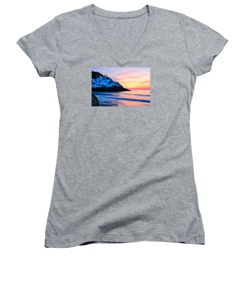 Touch Of Snow Singing Beach Women's V-Neck T-Shirt (Junior Cut) by Michael Hubley