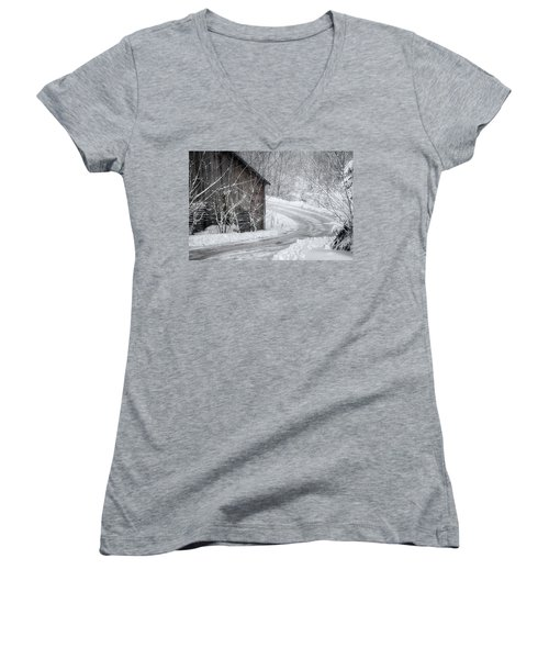 Touched By Snow Women's V-Neck T-Shirt (Junior Cut) by Joan Carroll