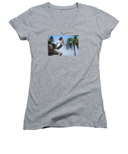 Touching The Canopy.  Women's V-Neck T-Shirt (Junior Cut) by Menachem Ganon