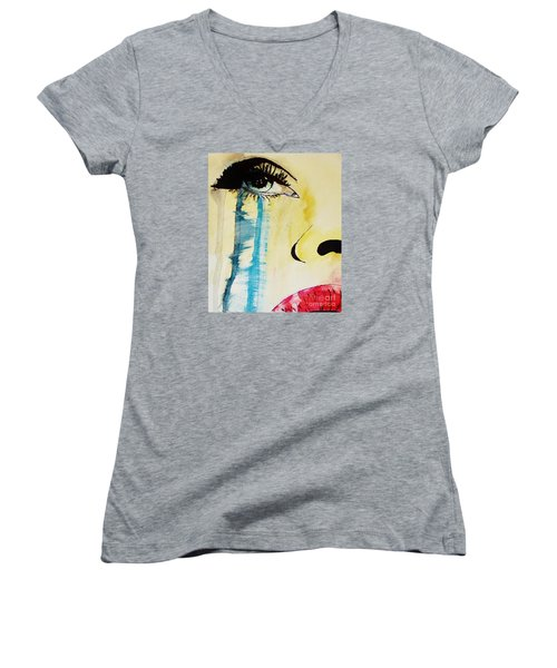 Women's V-Neck T-Shirt (Junior Cut) featuring the painting Tougher Than You Think 2 by Michael Cross