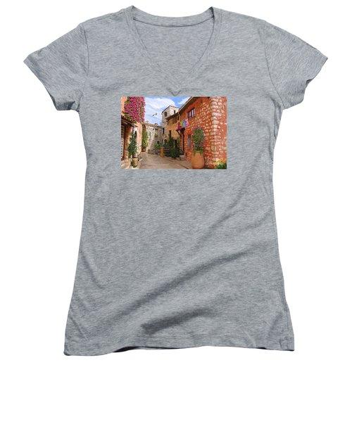 Women's V-Neck T-Shirt (Junior Cut) featuring the painting Tourettes Sur Loup France by Tim Gilliland