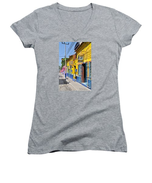 Tourist Shops - Mexico Women's V-Neck T-Shirt (Junior Cut) by David Perry Lawrence