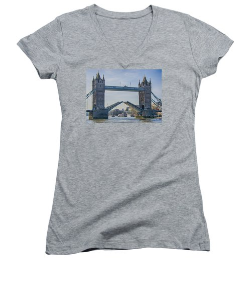 Tower Bridge Opened Women's V-Neck T-Shirt