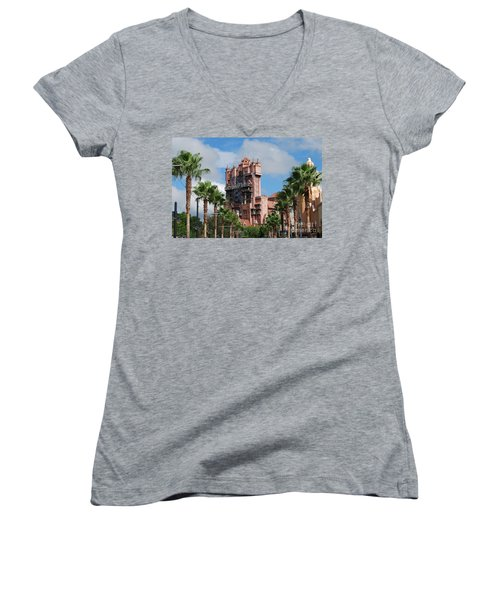 Tower Of Terror  Women's V-Neck T-Shirt (Junior Cut) by Eric Liller