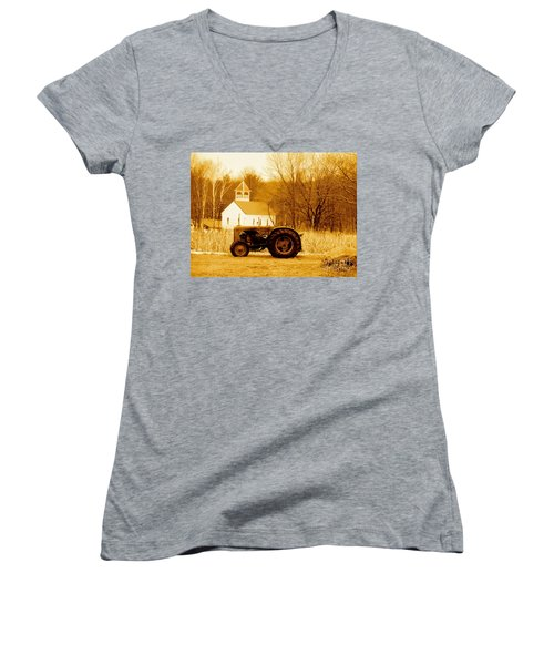 Tractor In The Field Women's V-Neck T-Shirt (Junior Cut) by Desiree Paquette