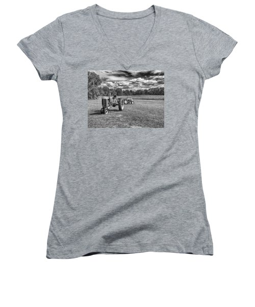 Women's V-Neck T-Shirt (Junior Cut) featuring the photograph Tractors by Howard Salmon