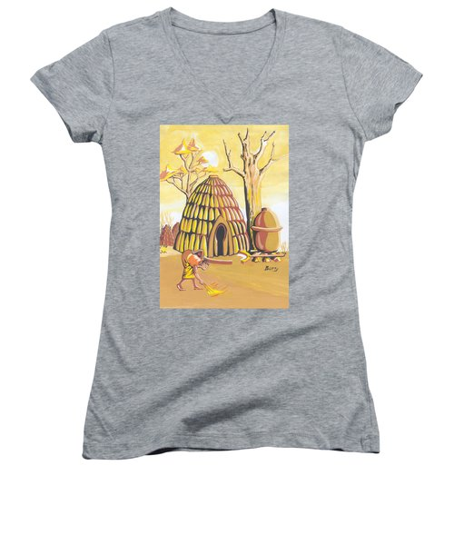 Women's V-Neck T-Shirt (Junior Cut) featuring the painting Traditional House Massa Northern Cameroon by Emmanuel Baliyanga