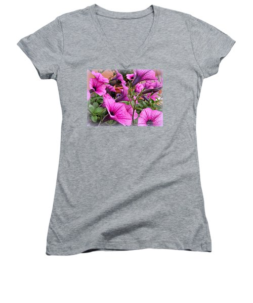 Trailing Petunias Women's V-Neck T-Shirt (Junior Cut) by Clare Bevan
