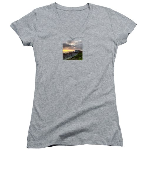 Train And Sunset In San Clemente Women's V-Neck