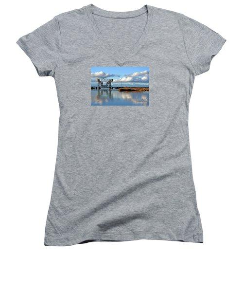Train Bridge Women's V-Neck T-Shirt (Junior Cut) by Chris Anderson