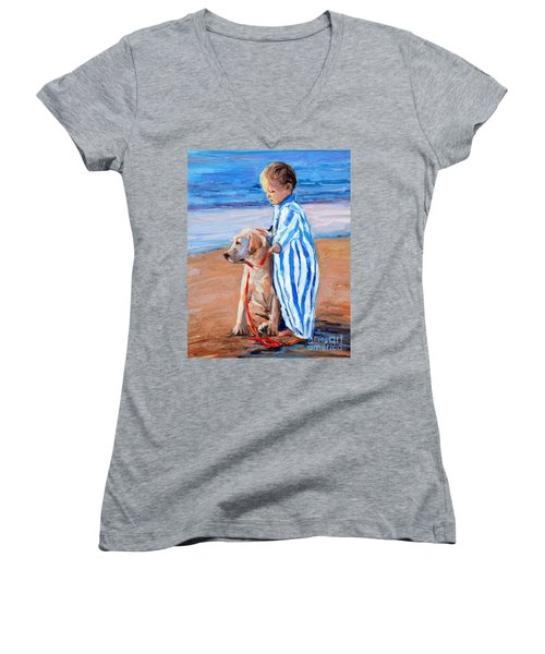Women's V-Neck T-Shirt (Junior Cut) featuring the painting Training Day by Molly Poole