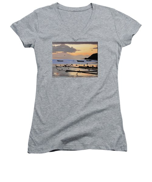 Tranquil Dawn Women's V-Neck (Athletic Fit)