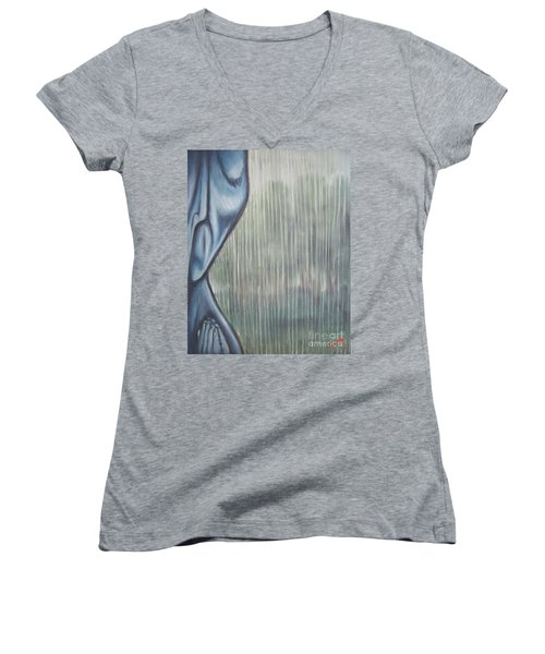 Women's V-Neck T-Shirt (Junior Cut) featuring the painting Tranquil Rain by Michael  TMAD Finney
