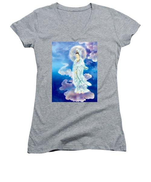 Tranquility Enabling Kuan Yin Women's V-Neck T-Shirt (Junior Cut) by Lanjee Chee