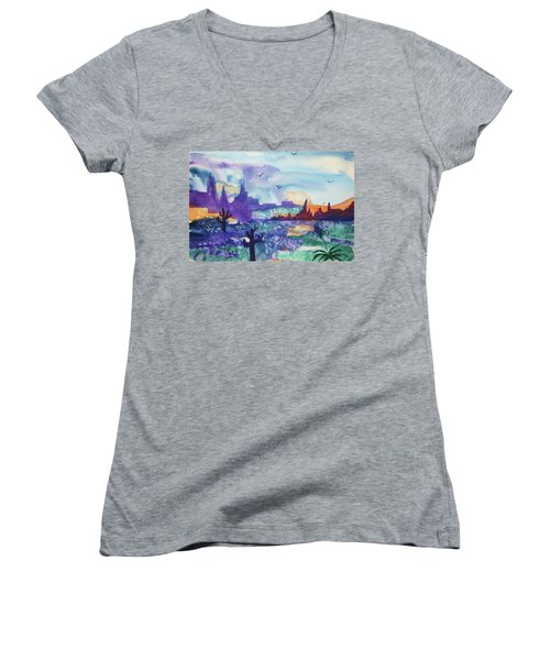 Women's V-Neck T-Shirt (Junior Cut) featuring the painting Tranquility II by Ellen Levinson