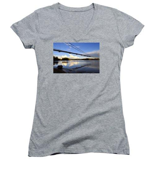 Women's V-Neck T-Shirt (Junior Cut) featuring the photograph Transalaska Pipeline Bridge by Cathy Mahnke