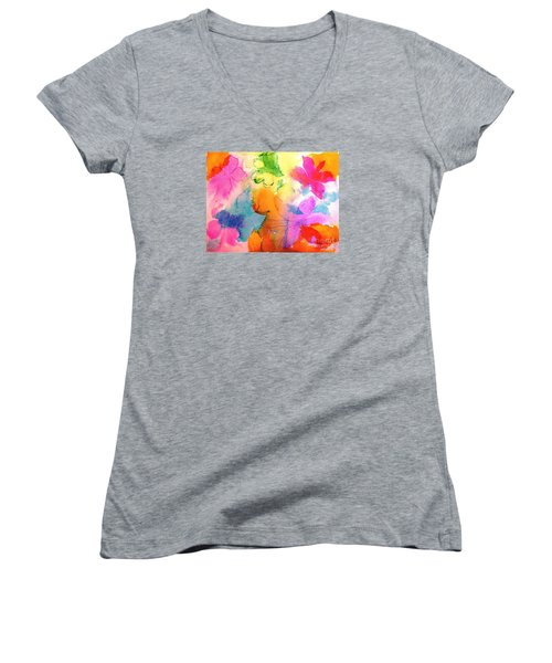 Women's V-Neck T-Shirt (Junior Cut) featuring the painting Transformed Into His Image by Hazel Holland