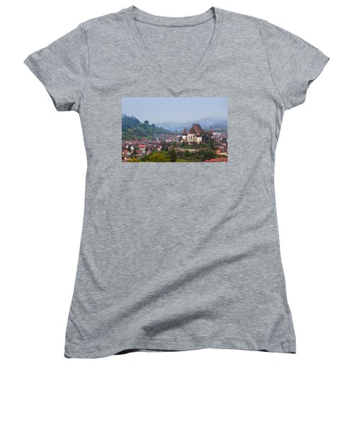 Transylvania Women's V-Neck T-Shirt (Junior Cut) by Mircea Costina Photography