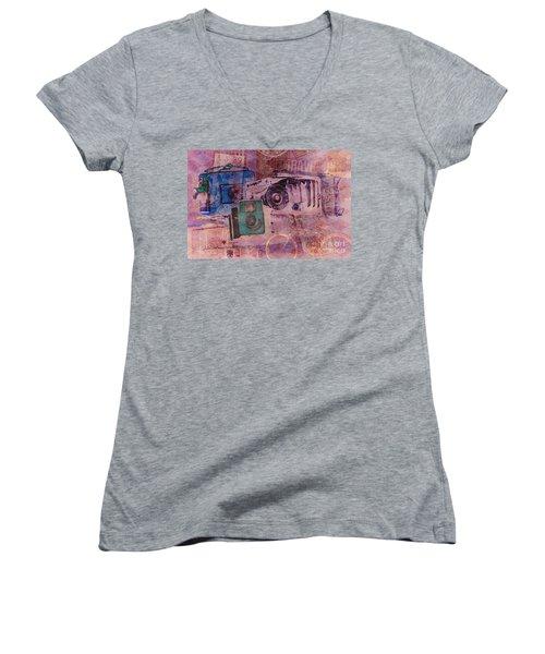Travel Log Women's V-Neck T-Shirt (Junior Cut) by Erika Weber