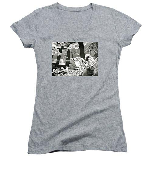 Traveler's Fortune Women's V-Neck T-Shirt (Junior Cut) by Gem S Visionary