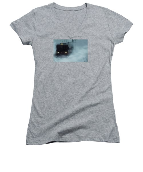 Traveling In The Snow... Women's V-Neck T-Shirt (Junior Cut) by Vittorio Chiampan