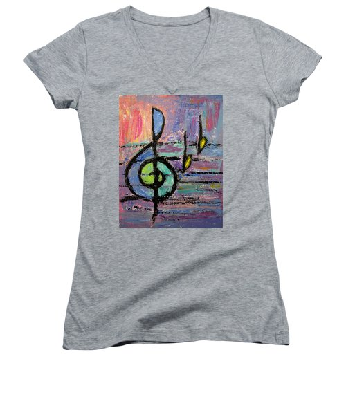 Treble Clef Women's V-Neck (Athletic Fit)