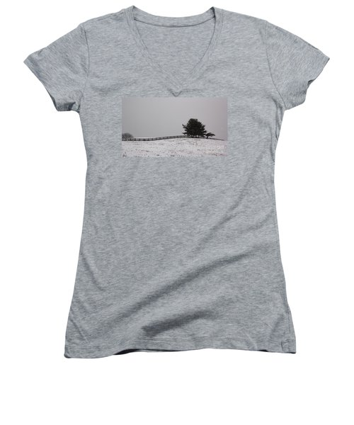 Tree And Fence In Snow Storm Women's V-Neck