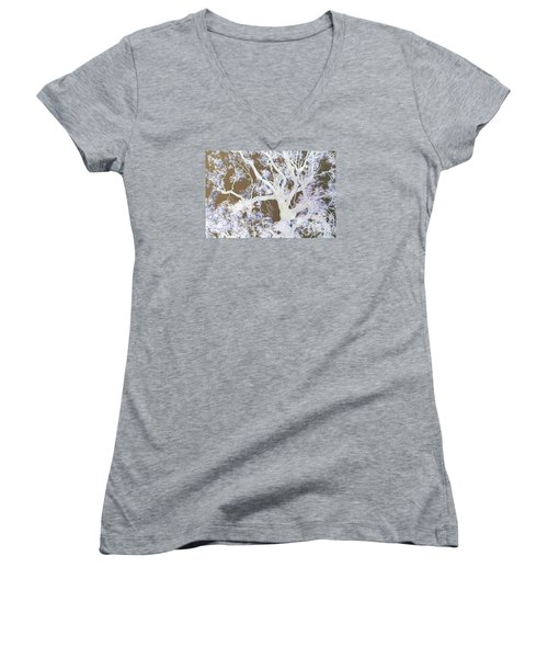 Women's V-Neck T-Shirt (Junior Cut) featuring the photograph Tree Inversion by Cassandra Buckley