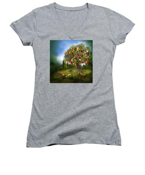 Tree Of Abundance Women's V-Neck T-Shirt (Junior Cut) by Carol Cavalaris