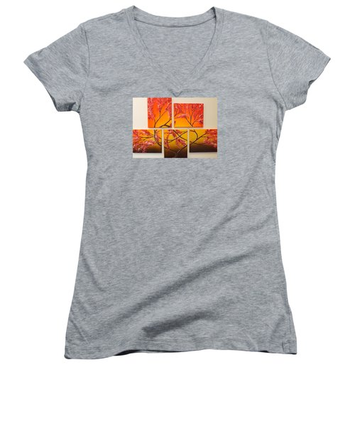 Women's V-Neck T-Shirt (Junior Cut) featuring the painting Tree Of Infinite Love by Darren Robinson