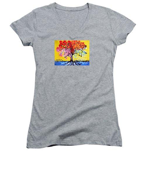 Tree Of Life Women's V-Neck T-Shirt (Junior Cut) by Ramona Matei