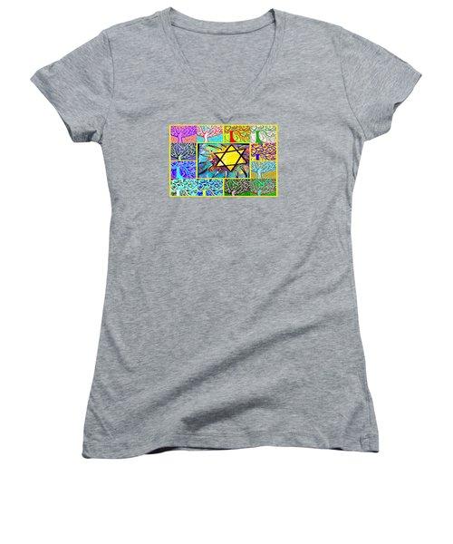 -tree Of Life Star Women's V-Neck T-Shirt (Junior Cut) by Sandra Silberzweig