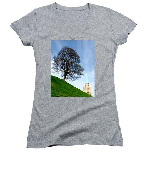 Tree On A Hill Women's V-Neck
