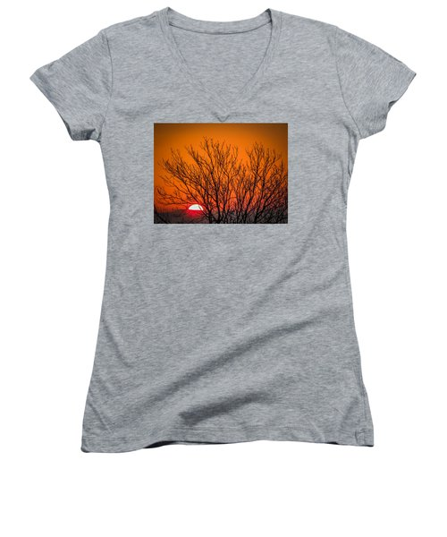 Tree Silhouetted By Irish Sunrise Women's V-Neck