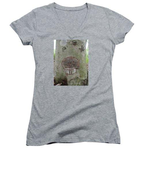 Tree Spirit Women's V-Neck T-Shirt (Junior Cut) by Robert Nickologianis