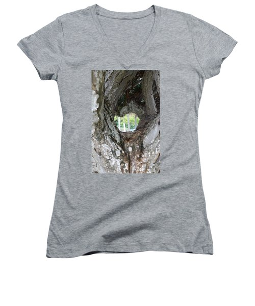 Women's V-Neck T-Shirt (Junior Cut) featuring the photograph Tree View by Rafael Salazar