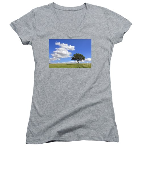 Tree With Clouds Women's V-Neck