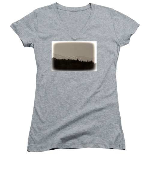Treeline With Ice Capped Mountains In The Scottish Highlands Women's V-Neck T-Shirt (Junior Cut)
